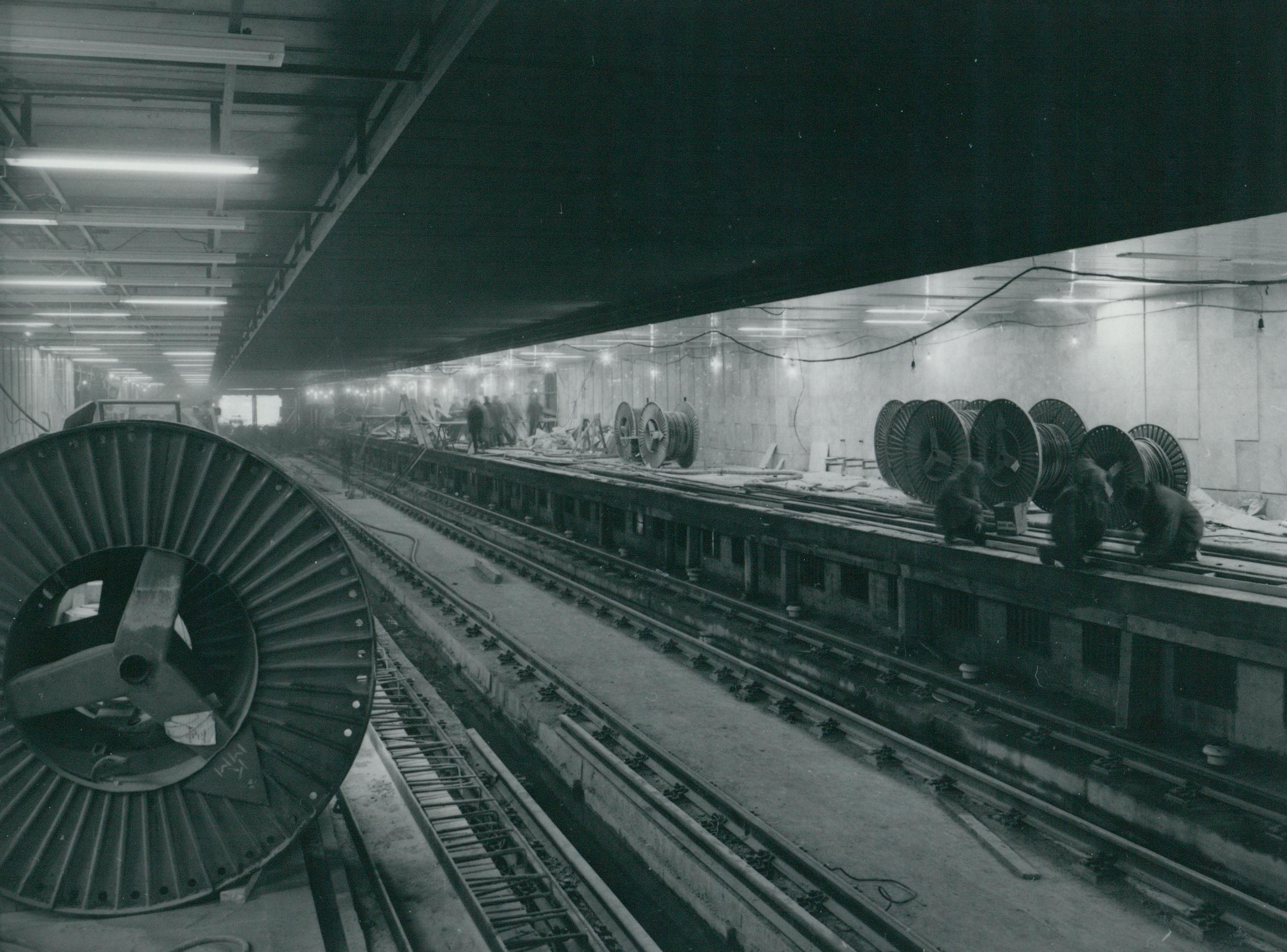 A 3-as metró peronjának építése az Ecseri úti megállóban