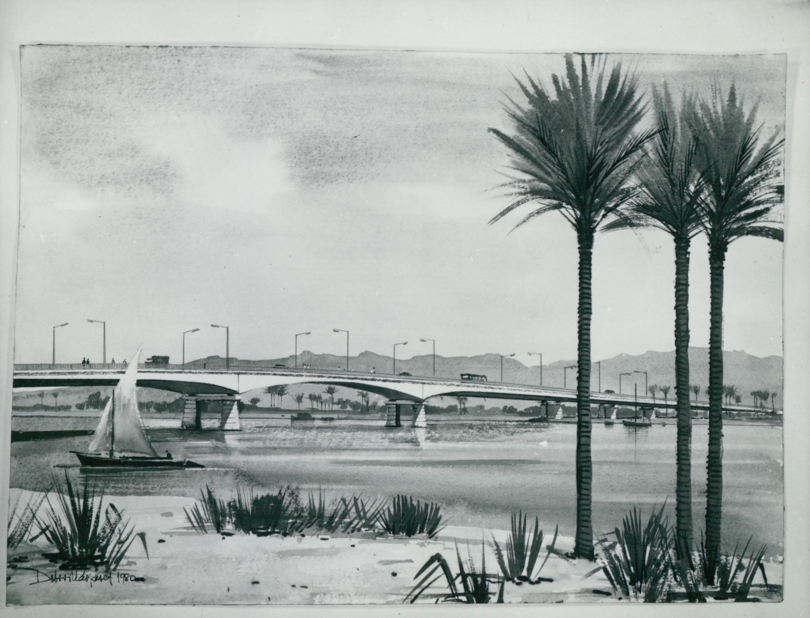 Dobroszláv József akvarell látványterve El Minya új Nílus-hídjáról