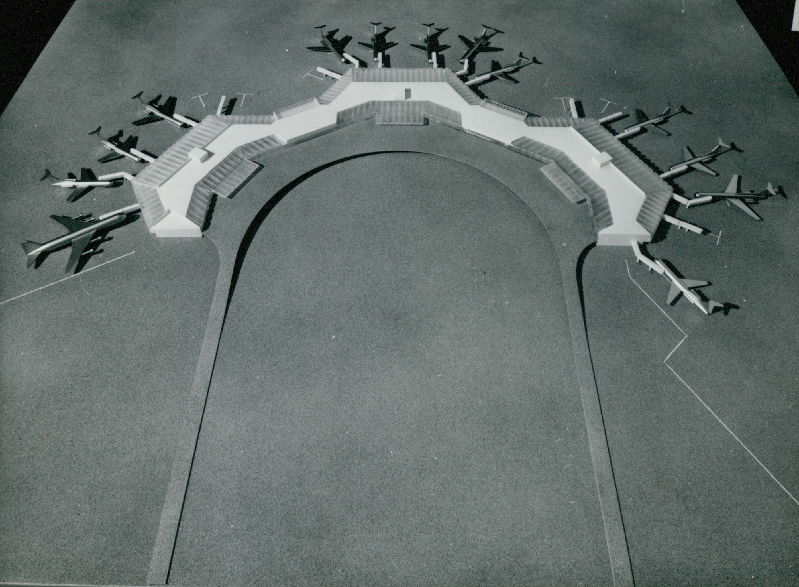 Ferihegyi reptér forgalmi épületének modellje