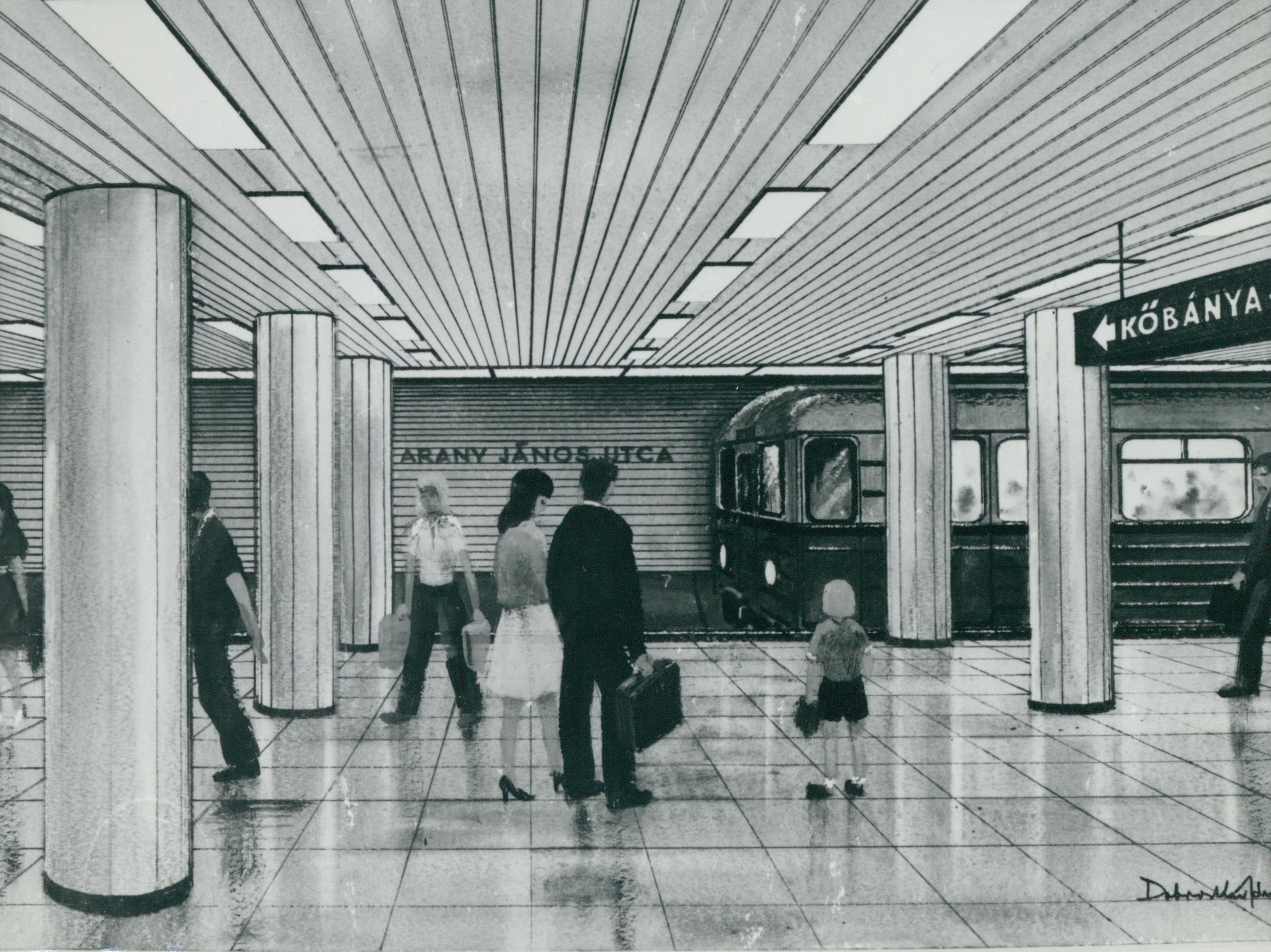 A 3-as metró Arany János utcai megállójának terve