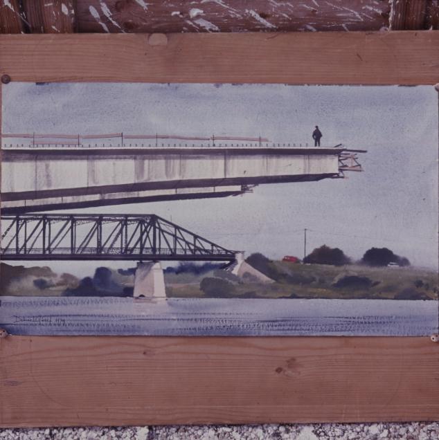 Dobroszláv József akvarellje egy épülő hídról
