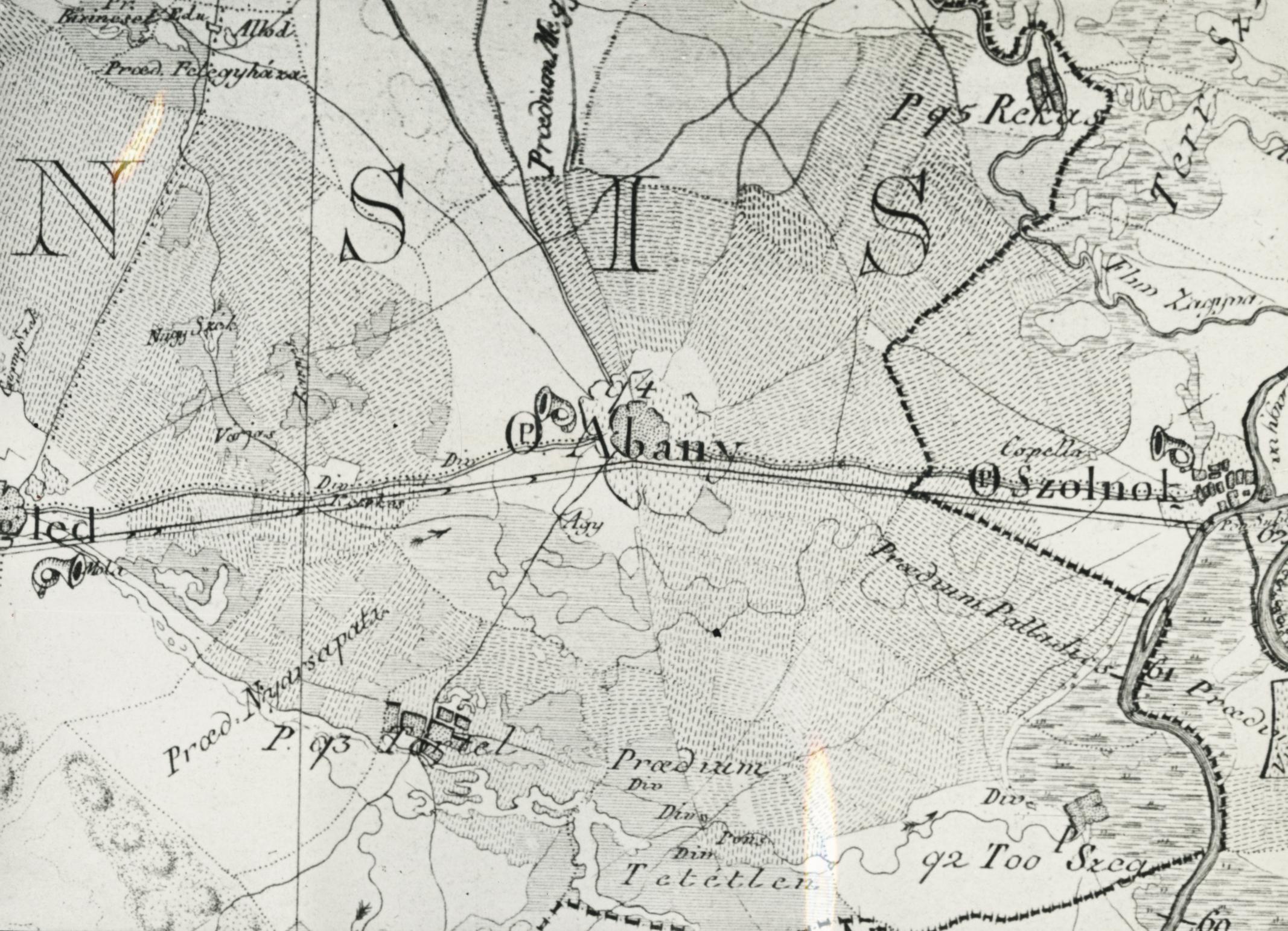 Abony környéke Balla Antal Pest megyei térképéből (1793)