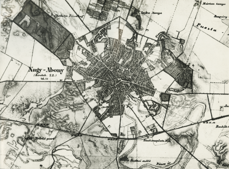 Abony környéke a második katonai térképfelvételből (XIX. század közepe)
