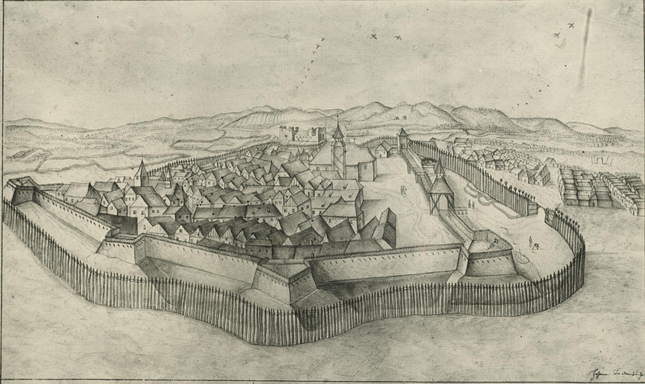 Balassagyarmat a XVII. században Le Dentu tollrajzán