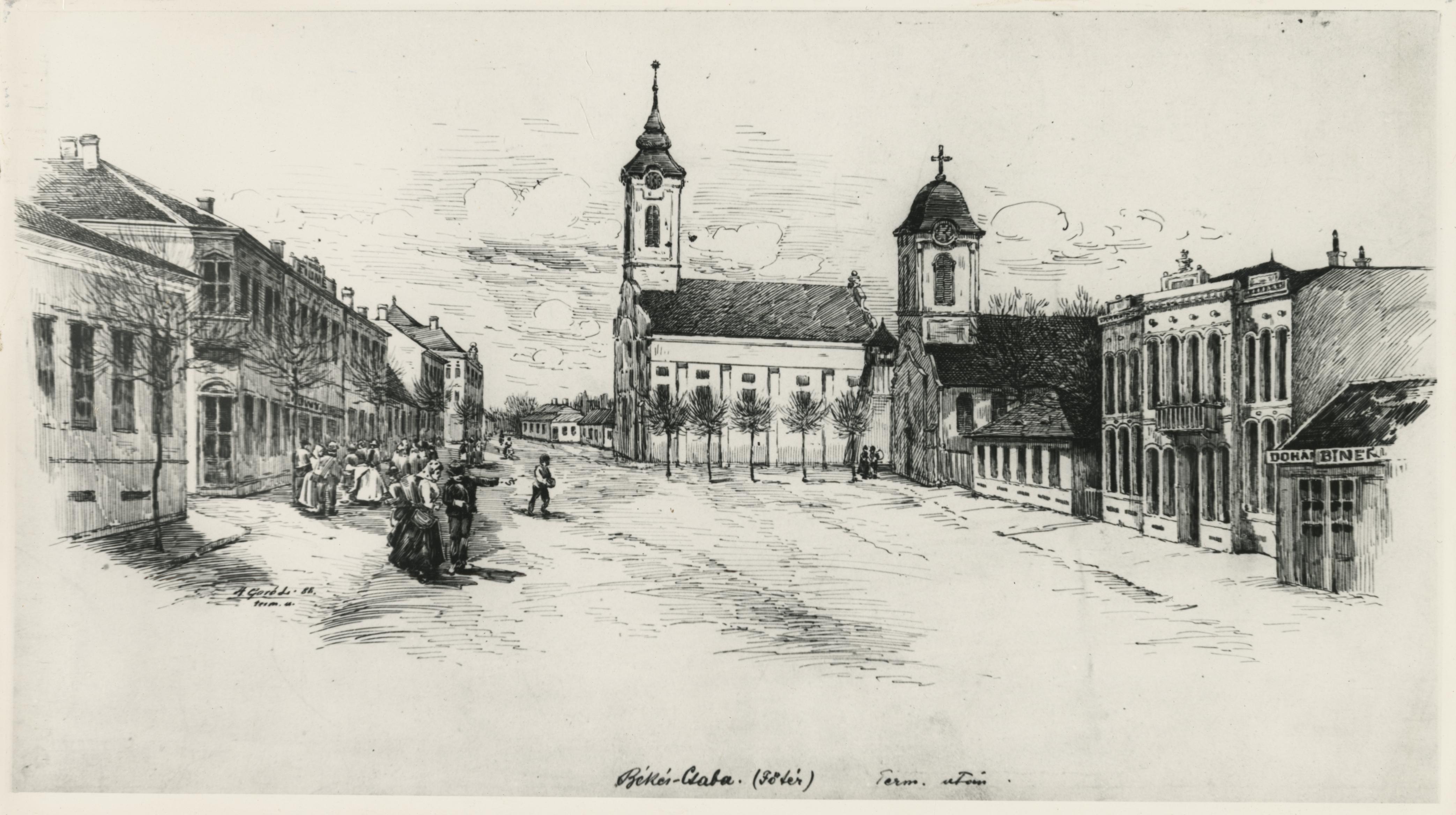 Békéscsaba főtere Agyagfalvi Góró Lajos tollrajzán (1888)