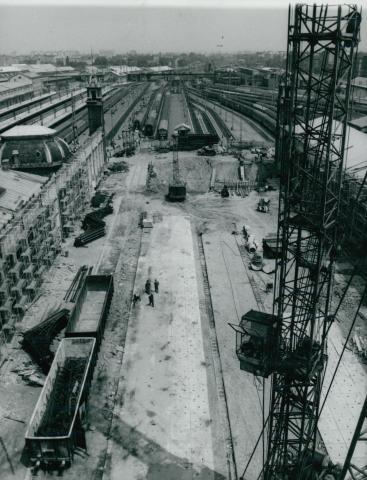 A Nyugati pályaudvar aluljárójának építési munkálatai