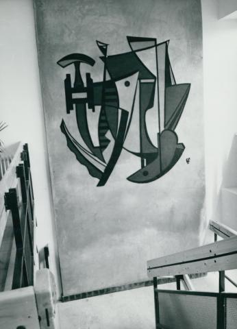 Festmény a szolnoki Volán oktató központ lépcsőházában