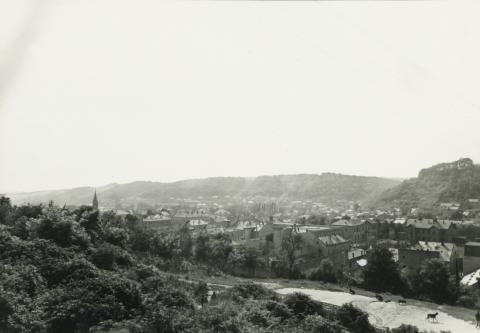 Salgótarján városközpontjának távlati képe keletről