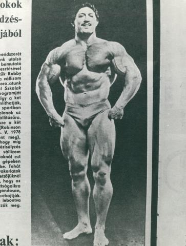 Újságcikk részlete Szkalák Kálmán testépítő képével