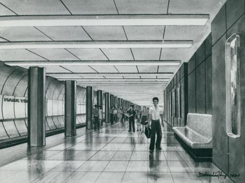 A 3-as metró Nyugati téri megállójának terve