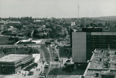 Veszprémi épület tetőszigetelése, látkép a városra