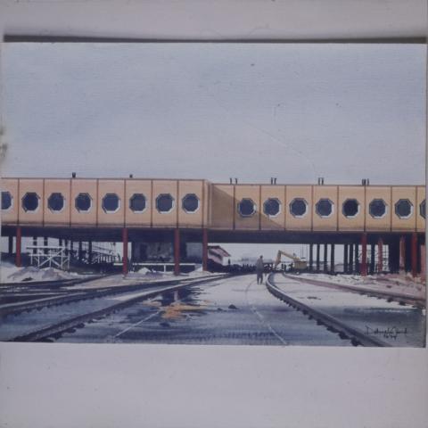 A Kőbánya-kispesti MÁV-METRO állomás, Dobroszláv József akvarellje