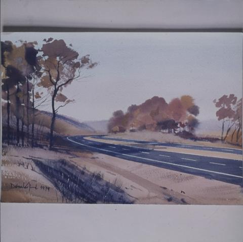 Dobroszláv József autópályát ábrázoló akvarellje