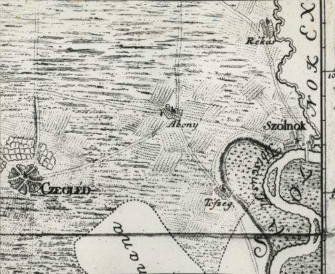 Abony környéke egy 1737-es térképen
