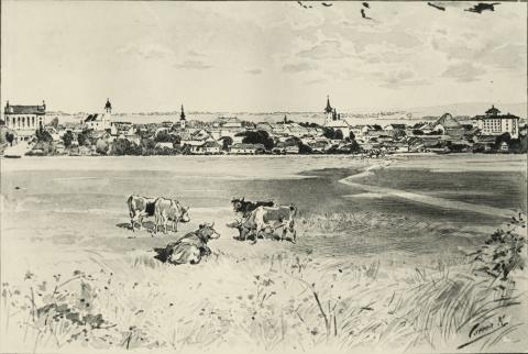 Balassagyarmat 1900 körül Cserna Károly szépiarajzán