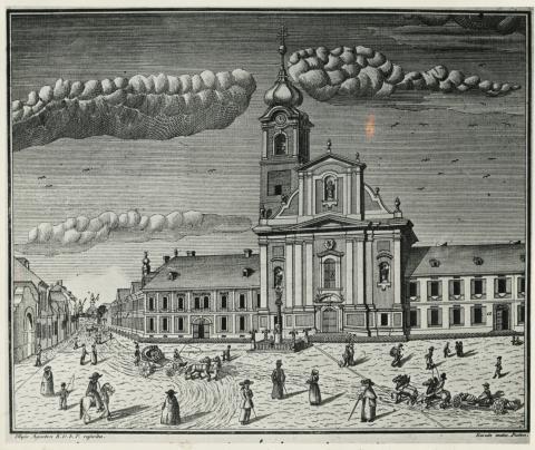 Karacs Ferenc metszete a szegedi egykori Szent Demeter templomról, a 19. század első harmadából