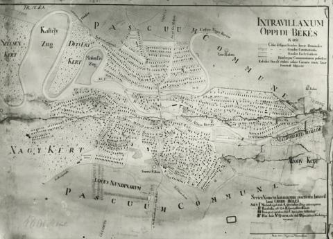 Békés belterületének térképe 1800 körül