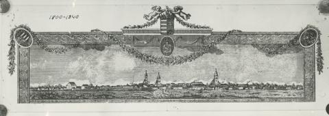 Békés látképe a XIX. század első felében (rézmetszet céhlevélről)