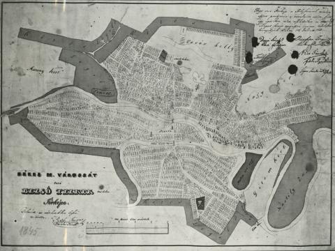 Békés belterületének térképe 1845-ben