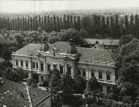 A békési egykori tanácsház a Körös-parti fasorral